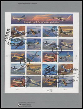 3916 - 3925 / 37c Advances in Aviation Complete Pane of 20 Dual Postmarks USPS 2005 Souvenir Page
