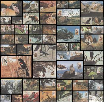 2286 - 2335 / 22c North American Wildlife Set of 50 Fleetwood 1987 Maximum Cards