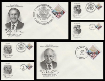 George W. Bush - Dick Cheney and First Ladies 2005 Set of 6 Postal Commemorative Society Inauguration Covers