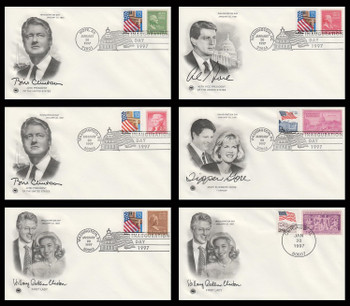 Bill Clinton - Al Gore and First Ladies 1997 Set of 6 Postal Commemorative Society Inauguration Covers