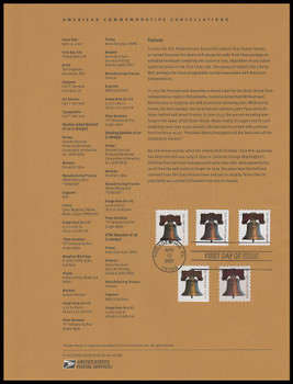 4125 - 4128 / 41c Non-Denominated Liberty Bell Forever Stamps 2007 USPS Souvenir Page #0708