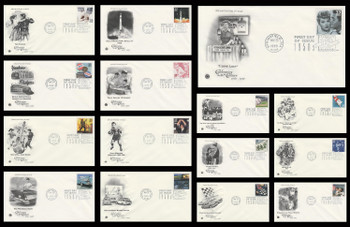 3187a-o / 33c Celebrate The Century ( CTC ) 1950s Set of 15 PCS 1999 First Day Covers