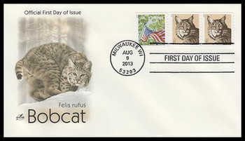 4802 / 1c Bobcat Coil Pair 2013 Artcraft First Day Cover