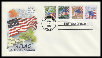 4774 - 4777 / 46c Flags For All Seasons : SSP Strip of 4 Artcraft 2013 FDC