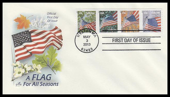 4770 - 4773 / 46c Flags For All Seasons : APU Strip of 4 Artcraft 2013 FDC