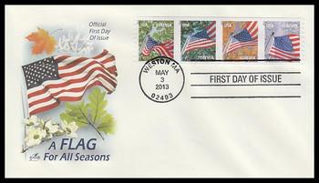 4766 - 4769 / 46c Flags For All Seasons : AVR Strip of 4 Artcraft 2013 FDCs