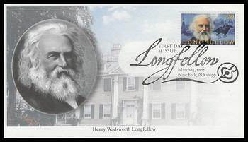 4124 / 39c Henry Wadsworth Longfellow 2007 Mystic FDC