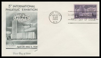 1076 / 3c Fipex 5th Intl. Philatelic Exhibition Fleetwood 1956 FDC