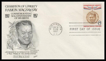 1096 / 8c Ramon Magsaysay Fleetwood 1957 FDC