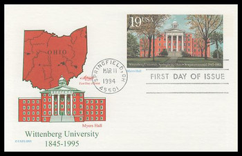 UX175 / 19c Myers Hall : Wittenberg University Sesquicentennial : Historic Preservation Series 1994 Artmaster FDC Postal Card