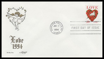 2814C /  29c Dove and Roses : Love Series Artmaster 1994 FDC