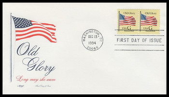 "2879 / 20c Old Glory ""G"" Rate Change Postcard Stamp Artmaster 1994 FDC"