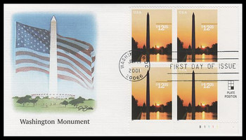 3473 / $12.25 Washington Monument Express Mail Plate Block 2001 Fleetwood FDC