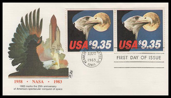 1909 / $9.35 Eagle and Full Moon Express Mail Pair 1983 Fleetwood FDC ( Light Toning Throughout )