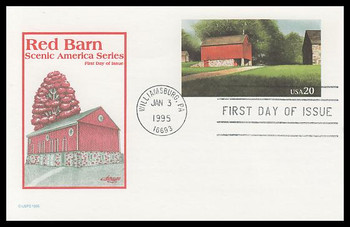 UX198 / 20c Red Barn : Scenic American Landmarks Series 1995 Artmaster Postal Card FDC