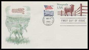 U635 / 5c Sheep Nonprofit 6¾ Postal Stationary Envelope 1995 Artmaster FDC
