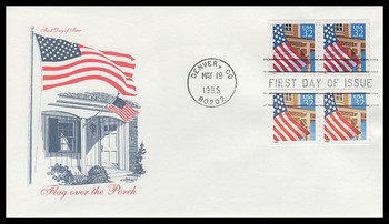 2913 - 2914 / 32c Flag over Porch Coil Pairs Combination 1995 Artmaster FDC