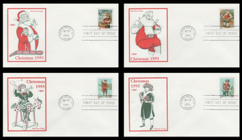 3004 - 3007 / 32c Santa and Children Sheet Issue Set of 4 Christmas Series 1995 Artmaster FDCs