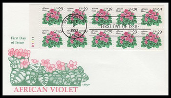 2486a / 29c African Violets Booklet Pane 1993 Artmaster FDC