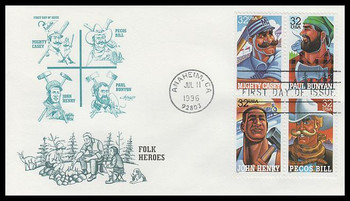 3086a / 32c Folk Heroes Se-Tenant Block Artmaster 1996 First Day Cover
