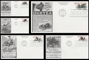 3019 - 3023 / 32c Antique Automobiles Set of 5 Mystic 1995 FDCs