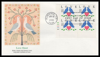 2440 / 25c Lovebirds and Heart : Love Series Plate Block 1990 Fleetwood FDC