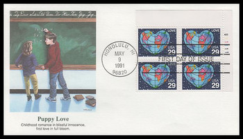2535 / 29c World Heart : Love Stamp Series Plate Block 1991 Fleetwood FDC