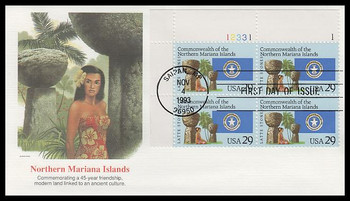 2804 / 29c Commonwealth of the Northern Mariana Islands Plate Block Fleetwood 1993 FDC