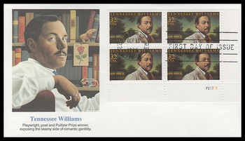 3002 / 32c Tennessee Williams : Playwright Plate Block Lower Right 1995 Fleetwood FDC