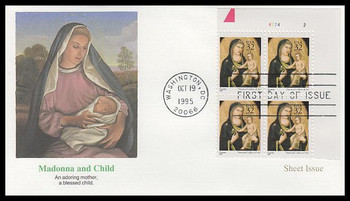 3003 / 32c Madonna and Child by Giotto di Bondone Sheet Issue : Christmas Series Plate Block 1995 Fleetwood FDC