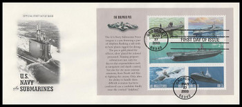 3377a U.S. Navy Submarine Centennial 2000 Full Booklet Pane of 5 Stamps with The Dolphin Pin Selvage on #10 Envelope Artcraft FDC