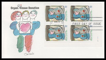 3227 / 32c Organ and Tissue Donation PSA Plate Block 1998 Fleetwood FDC