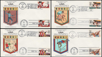 C109 - C112 / 35c Summer Olympics Set of 4 Airmail Dual Cancel 1983 Collins Hand-Painted FDC