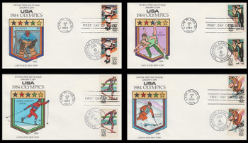 2067 - 2070 / 20c Winter Olympics Set of 4 Dual Cancel 1984 Collins Hand-Painted FDC
