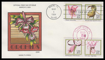 2076 - 2079 / 20c Orchids Dual Cancel On 1 Collins Hand-Painted 1984 FDC