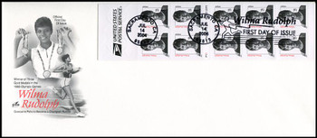 3436c / 23c Wilma Rudolph Convertible Booklet of 10 Artcraft 2004 FDC