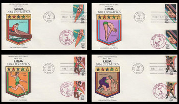 2082 - 2085 / 20c Summer Olympics Set of 4 Dual Cancel 1984 Collins Hand-Painted FDC