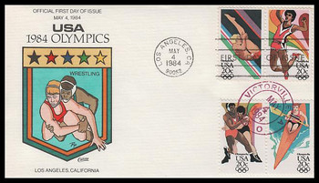 2085a / 20c Summer Olympics Block Dual Cancel 1984 Collins Hand-Painted FDC