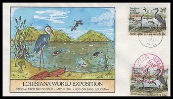 2086 / 20c Louisiana World Exposition Dual Cancel Collins Hand-Painted 1984 FDC