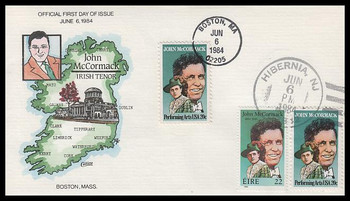 2090 / 20c John McCormack : Performing Arts Series Collins Hand-Painted 1984 FDC