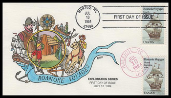 2093 / 20c Roanoke Voyages Dual Cancel Collins Hand-Painted 1984 FDC