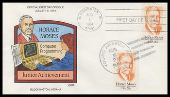 2095 / 20c Horace Moses : Junior Achievement Dual Cancel Collins Hand-Painted 1984 FDC