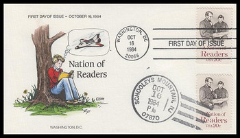 2106 / 20c Nation of Readers Dual Cancel Collins Hand-Painted 1984 FDC