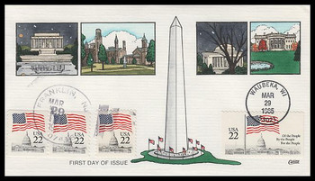 2114 - 2116 / 22c Flag Over Capitol Combo Dual Cancel Collins Hand-Painted 1985 FDC