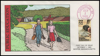 2159 / 22c Public Education Collins Hand-Painted 1985 FDC