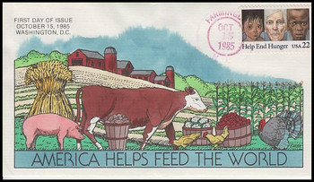 2164 / 22c Help End Hunger Collins Hand-Painted 1985 FDC