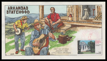 2167 / 22c Arkansas Statehood Collins Hand-Painted 1986 FDC