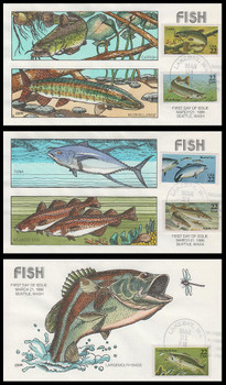 2205 - 2209 / 22c Fish On 3 Collins Hand-Painted 1986 FDCs