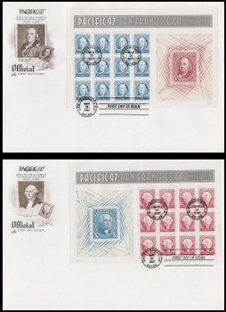 3139 - 3140 / 50c and 60c Pacific '97 Full Sheets Set of 2 With Brown Cachet Artcraft 1997 FDCs