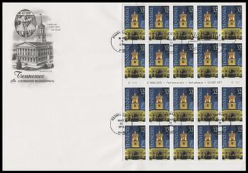 3071a / 32c Tennessee Statehood Bicentennial Pane of 20 Nashville Postmark 1996 Artcraft FDC